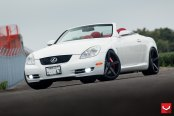 Sleek White Lexus SC on Matte Black Vossen Rims Fitted with Red Brakes