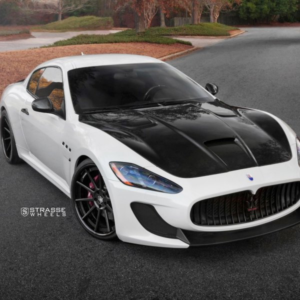 White Maserati Granturismo with Custom Vented Hood - Photo by Strasse Forged