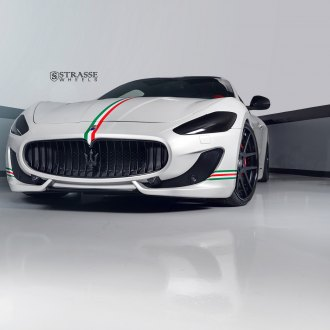 Custom Tinted Headlights and Matte Black Strasse Wheels Beautifying White Maserati Granturismo