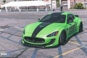 Attention Stealer Green Maserati Granturismo Boasting Black Stripes and Silver Wheels