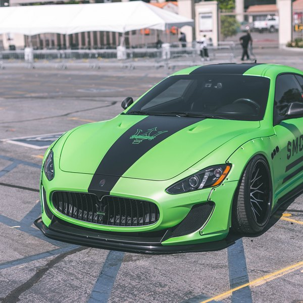 Custom Green Maserati Granturismo with Black Stripes - Photo by PUR Wheels