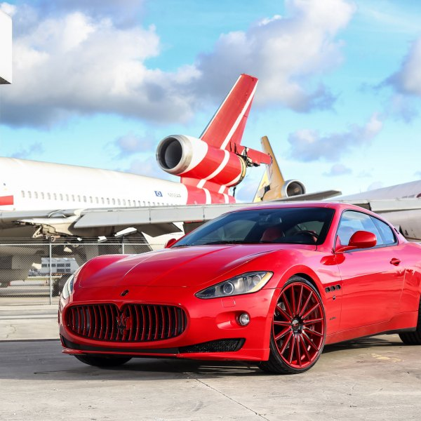 Red Maserati Granturismo with Custom Grille - Photo by Vossen