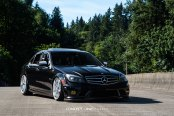 Black Mercedes C Class Dressed Up in Chrome Concept One Wheels and Featuring Carbon Fiber Bumper Lip