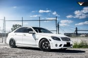 White Mercedes C Class Gets a Distinctive Appearance with Custom Matte Black Rims