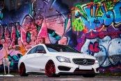 Burgundy Red Red JR Wheels on White Mercedes CLA Class