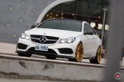 White Mercedes E-Class Taken to Another Level by Custom Bronze Vossen Rims