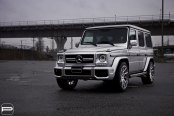 Light Gray Mercedes G Class on Chrome Wheels with Exotic Design