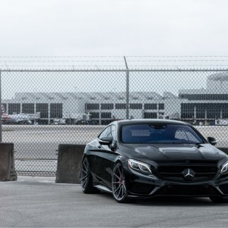 Custom Front Bumper on Black Mercedes S Class - Photo by Vossen
