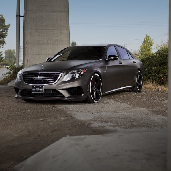 Chrome Billet Grille on Gray Mercedes S Class - Photo by PUR Wheels