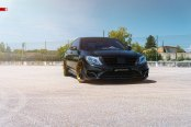 Consistent Blacked Out Styling of Mercedes S Class Highlighted by Contrasting Golden Wheel Accents