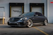 Every Bit the Serious Driver's Car: Black Mercedes S Class Rocking Anrky Wheels
