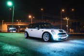 Modish White Mini Cooper Fitted with Front Bumper and Fog Lights