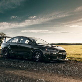 Black Mitsubishi Evolution Reworked with Wide Body Kit