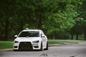 Reworked Front End of White Mitsubishi Evolution