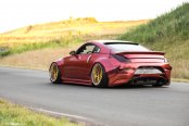 Widebody Red Nissan 350Z Stanceda and Put on Gold Avant Garde Wheels