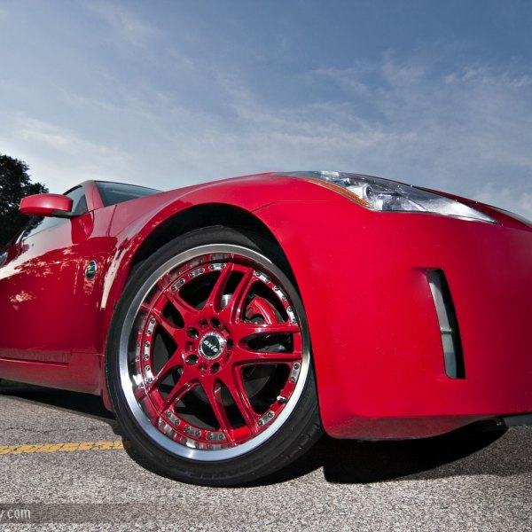 Aftermarket Front Bumper on Red Nissan 350Z - Photo by dan kinzie