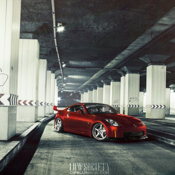 Red Nissan 350Z with Custom Front Lip - Photo by Ciprian Mihai