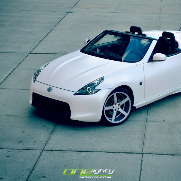 White Convertible Nissan 370Z with Custom Front Bumper - Photo by ONEighty NYC