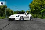 Stanced Out White Nissan 370z Wearing Rohana Wheels