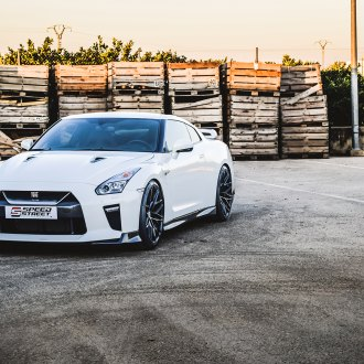 Appealing Exterior Upgrades for White Nissan GT-R on Gloss Black Brixton Wheels
