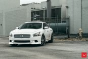Attractive White Nissan Maxima Wearing Custom Forged Vossen Wheels