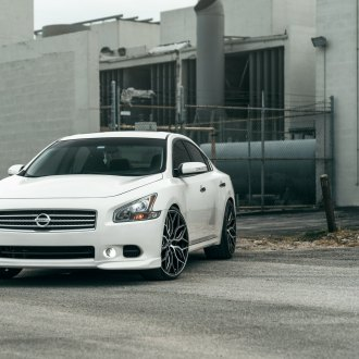 White Nissan Maxima with Custom Chrome Grille - Photo by Vossen
