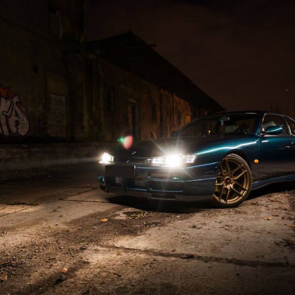 Green Nissan Silvia with Crystal Clear Headlights - Photo by JR Wheels