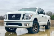 White Nissan Titan Fitted With TSW Off-road Wheels