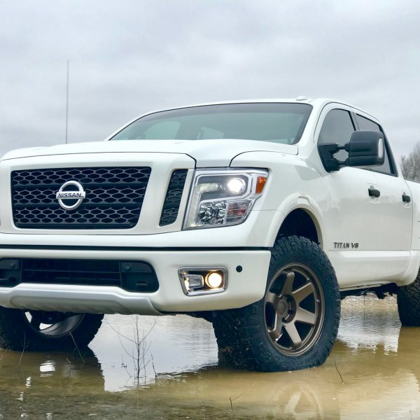 Custom Projector Headlights on White Nissan Titan - Photo by TSW Alloy Wheels