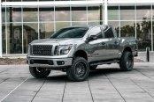 Silver Nissan Titan Gone Wild on Off-Road Black Rhino Wheels