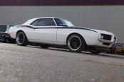 White Pontiac Firebird with Black Stripes Screaming of Style