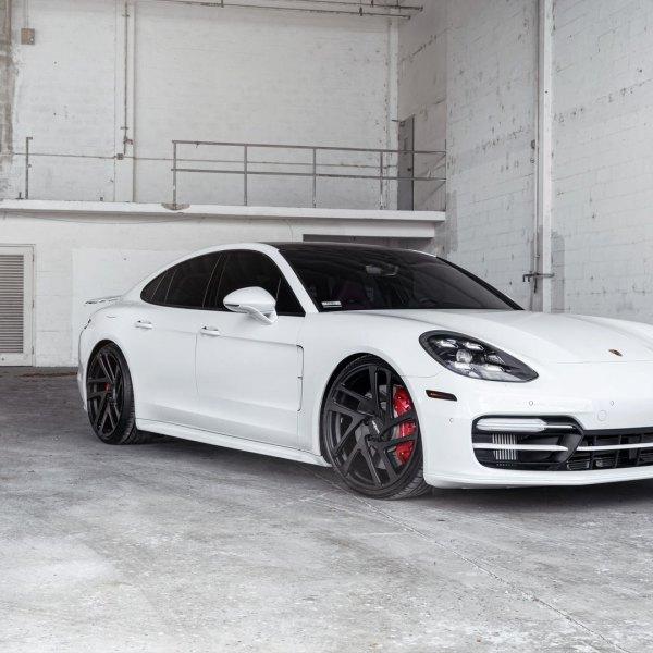White Porsche Panamera With Dark Smoke Halo Headlights