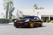 Imposing Dark Red Porsche Panamera Sits on Gold Concept One Wheels