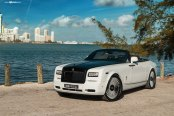 Royal Appearance of Custom White Convertible Rolls-Royce Phantom with Black Hood