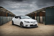 Slightly Tuned White Scion tC on Blaque Diamond Rims