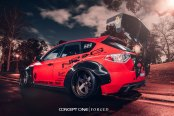 Heavily Modified Custom Red Subaru WRX on Forged Rims