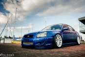 Blue Stanced Subaru WRX Redesigned with Custom Parts