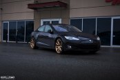 Double Tap: Black Tesla Model S Featuring Gold PUR Rims