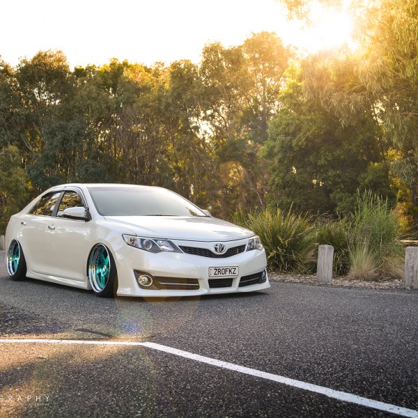White Toyota Camry With Aftermarket Front Per Photo By Avant Garde Wheels