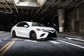 White Toyota Camry Customized with a Touch of Style and on Blaque Diamond Wheels