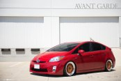 Red Toyota Prius Gets Upgraded Lighting and Bronze Avant Garde Wheels