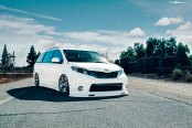 White Lowered Toyota Sienna Rolling on Avant Garde Wheels