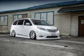 Dropped White Toyota Sienna Rolling on Custom Concept One Wheels