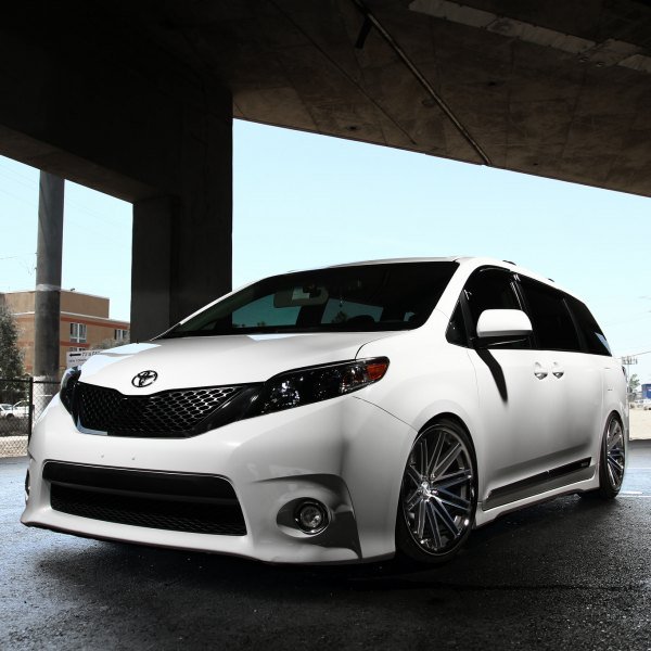 White Lowered Toyota Sienna With Blacked Out Grille