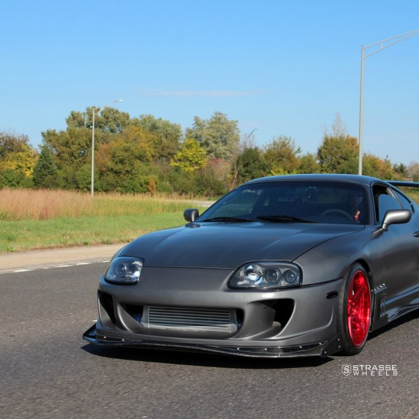 Gray Matte Toyota Supra With Carbon Fiber Front Lip   Photo By Strasse  Forged