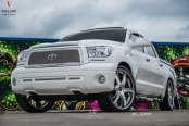 Dramatic Appearance of White Toyota Tundra on Vellano Wheels