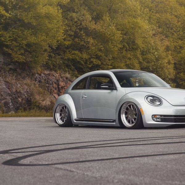 Silver Stanced VW Beetle With Aftermarket Front Bumper