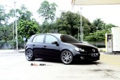 Customized Black VW Golf on Matte Silver ADV1 Wheels