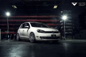 Modern Autostyling: White VW Golf with Dark Smoke Headlights