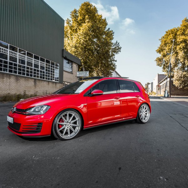 Custom Front Bumper on Red VW Golf - Photo by Vossen